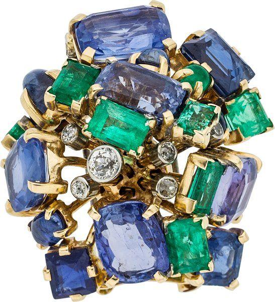 Diamond, Sapphire, Emerald, Gold Clip-Brooch, by Seaman Schepps.