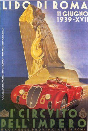 """11-6-1939 Il figlio del Duce, Vittorio Mussolini, da il via alla corsa automobilistica, """"I° Circuito dell'Impero"""" che si svolge a Ostia.  Vince Pintacuda con una vettura Alfa Romeo, della Squadra Corse diretta fino al 1939 da Enzo Ferrari."""