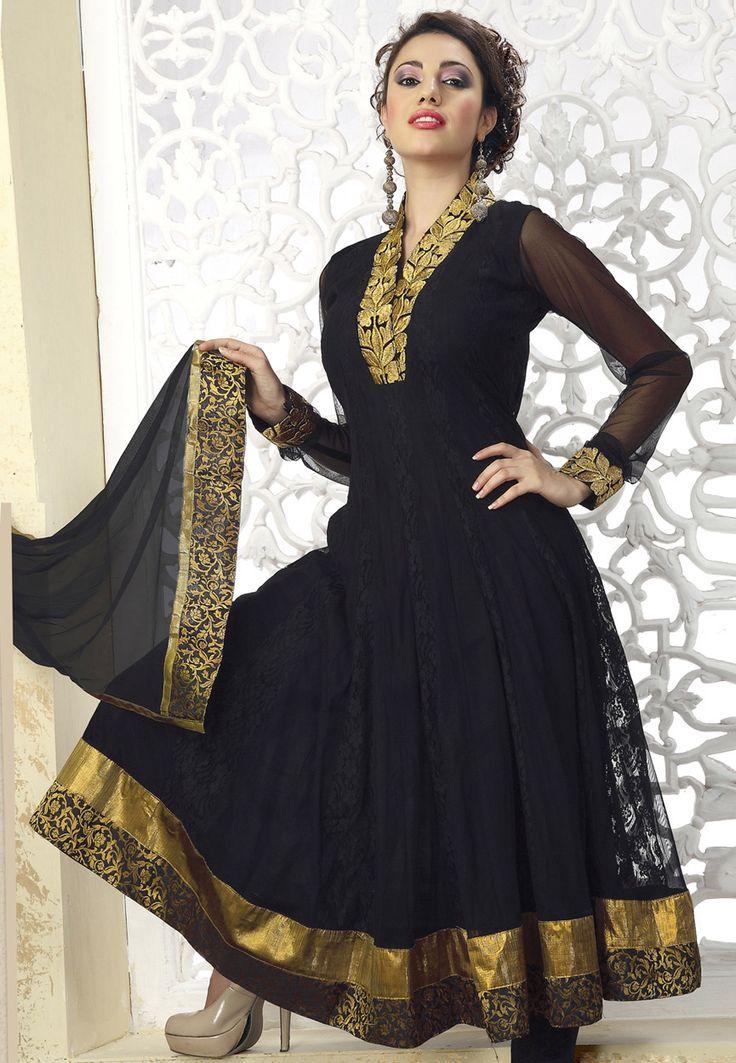 Black Net Anarkali Churidar Kameez Online Shopping: KDU201