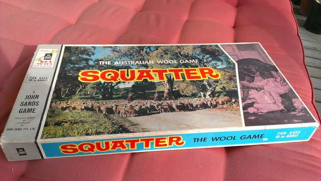 SQUATTER BOARD GAME: Invented by Bob Lloyd, a travelling sales rep for Dalgety's Ltd. who spent a lot of time in rural areas and decided it was time Australia had a game reflecting her pastoral heritage. Squatter  was published by John Sands Ltd and first released at the Royal Melbourne Show in 1962 on the Australian Wool Bureau stand. In 2007 (45 years after release) Squatter reached 500,000 sales. http://squatter.com.au