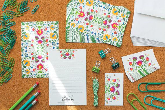 Beautiful 'Botanical Burst' Stationery Set 10 by StationeryBike