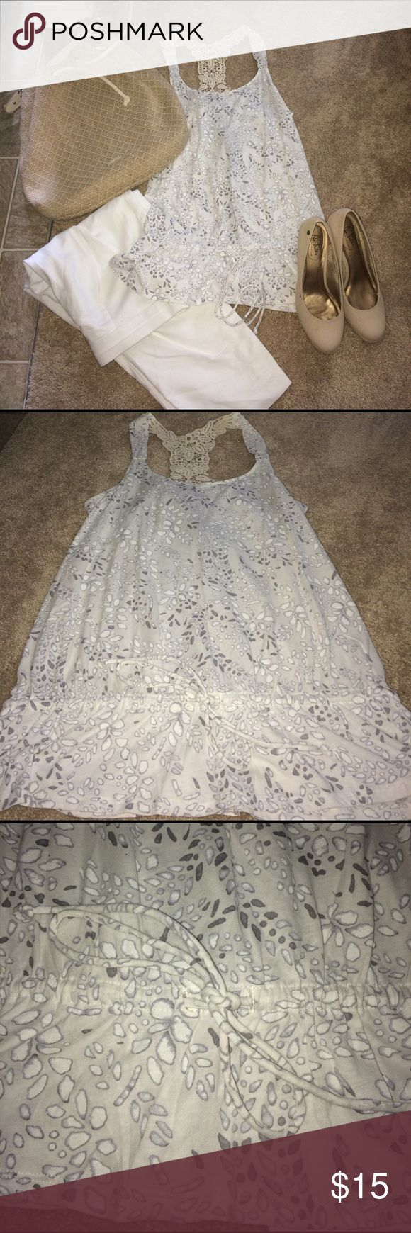 Blouse Lace back blouse. Cotton material. Draw string waist. NWT. White, gray and cream. Price Negotiable. Express Tops