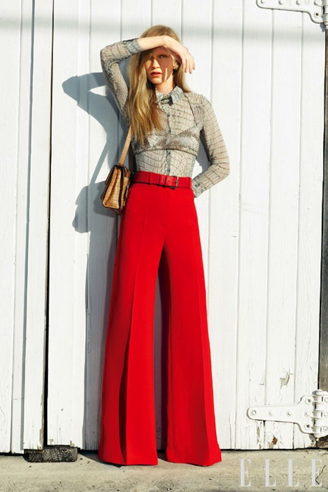 palazzo pants, red pants, classic chic #palazzopants #widelegtrousers #palazzotrends