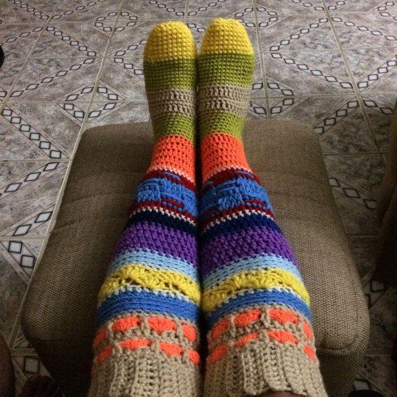Colores Crochet calcetines hasta la rodilla ganchillo Hippie