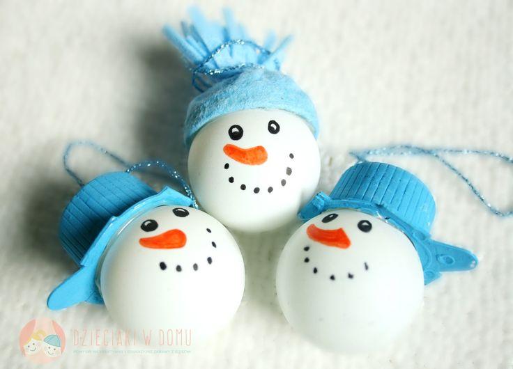 Bałwanki z piłeczek - ozdoby na choinkę/ping pong ball snowman ornament