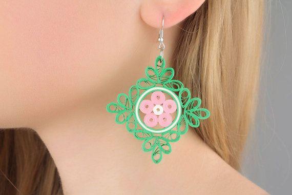Square paper earrings by DesignerJewelryShop on Etsy