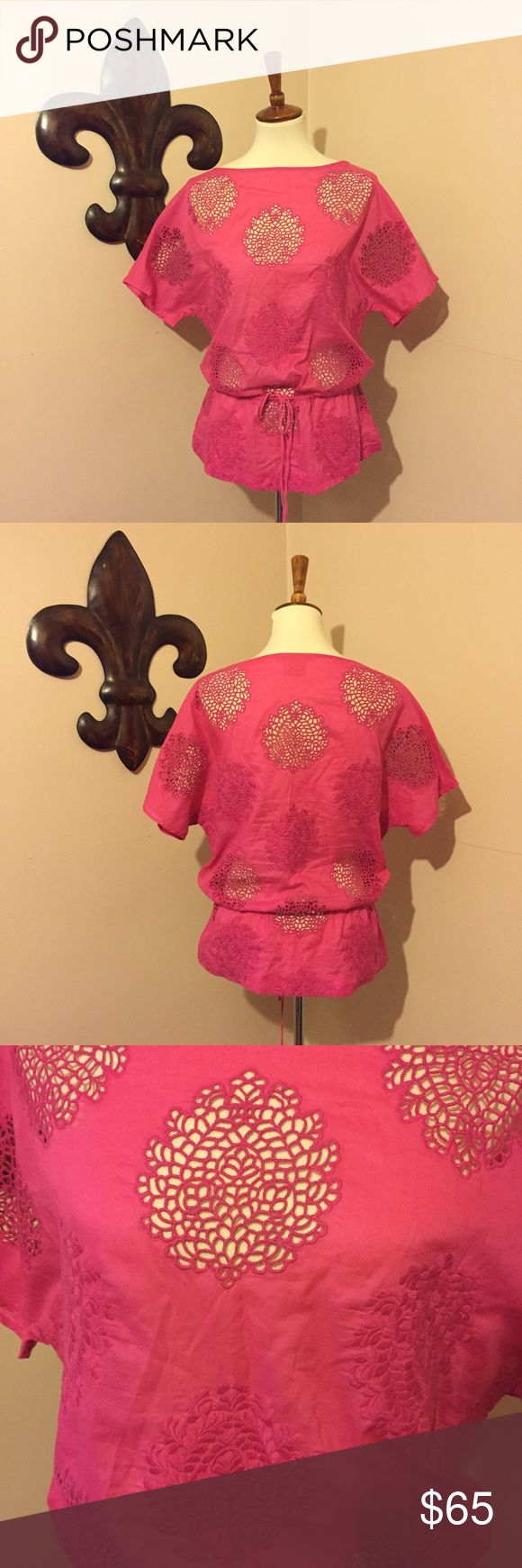 Tory Burch Hot Pink Top Perfect for layering or over a bikini top! Drawstring waist. Tory Burch Tops