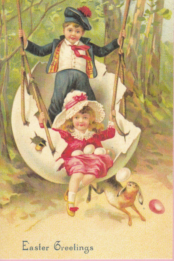 Large Easter Greetings Postcard w/ Boy Girl от pecanhillpostcards