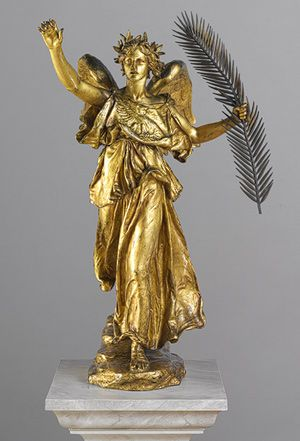 Augustus Saint–Gaudens (American, 1848–1907). Victory, 1892–1903; this cast, 1914 or after (by 1916). The Metropolitan Museum of Art, New York. Rogers Fund, 1917 (17.90.1) | This sculpture is a reduction after the large-scale female Victory that is part of the Sherman Monument (1892–1903; Grand Army Plaza, New York). #newyork #nyc