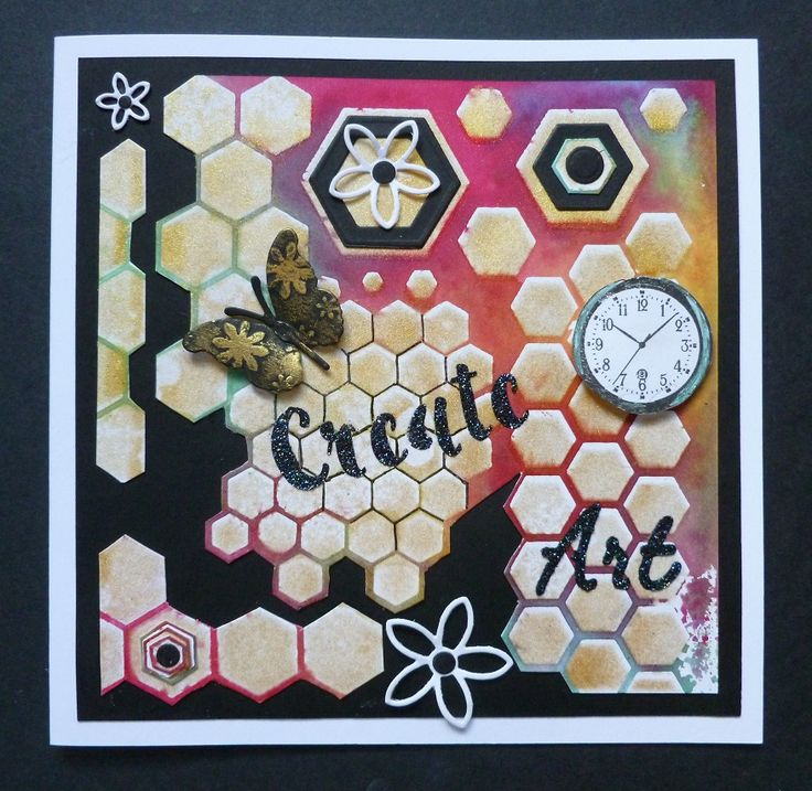 'A Little Creative Art' card -  Imagination Craft's -Mixed hexagons stencil no. MA-48.  Inspire, Art Create small stencil.  Spray & Gilt, gold.  Black Stars Sparkle Medium.  Metal spatula.  Mixed Media Spray inks- Fuchsia, yellow & light blue.  Starlight paint-Jade.  Watch from Time Flies stamp set.  Alchemy Wax - Inca Gold.  MB Butterfly die.  Creative Expressions flower dies.  Sizzix Hexagon dies.  August 2017.   Designed by Jennifer Johnston.