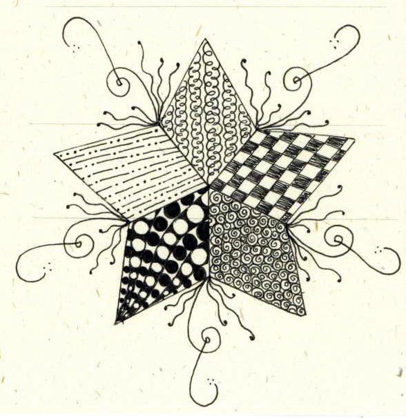 zentangled star by long village lettering, via Flickr