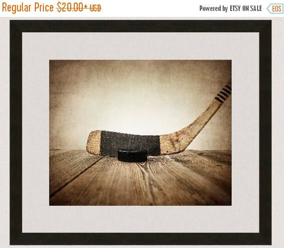 WEEKEND SALE Vintage Hockey Stick and Puck on Wood  Photo Print, Sports Decor, Vintage Hockey and Puck, by shawnstpeter on Etsy https://www.etsy.com/listing/116784431/weekend-sale-vintage-hockey-stick-and