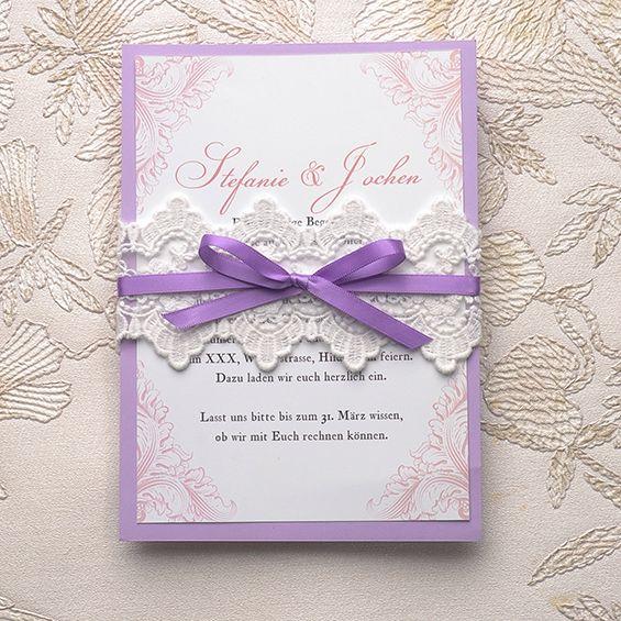 Neue Einladungskarten für Hochzeit 2015 sind jetzt beim Onlineshop verfügbar! | Hochzeitsblog Optimalkarten #wedding #lacecards #Vintage #lavendel