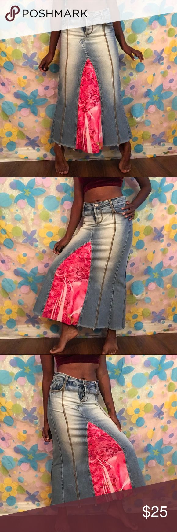 Kosiuko denim maxi skirt need buttons small 3/4 Found this @kosiukooficial skirt! Long jean skirt with soft material in the middle. 🌹🌷🌹🌷 NEEDS NEW BUTTONS!! Size small fits like a 3/4.  ! kosiuko Jeans