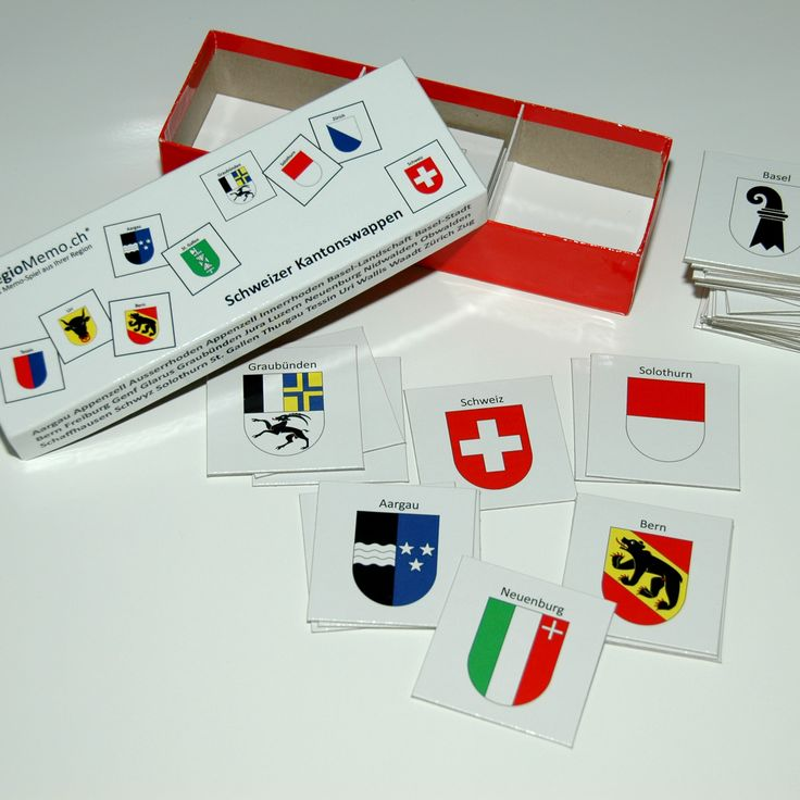 Memory-Spiel mit allen schweizer Kantonswappen. CHF 25.00