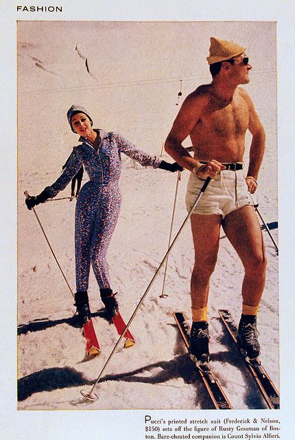 Just another bare-chested day on the slopes for me!  Pucci 1962 #ski #vintage