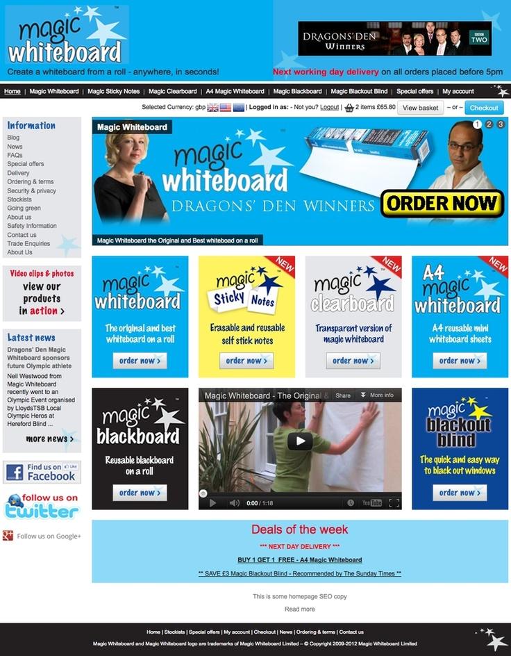 E-commerce website design Dragon's Den winners Magic Whitebaord by Echelon Digital in Dudley http://www.magicwhiteboard.co.uk/