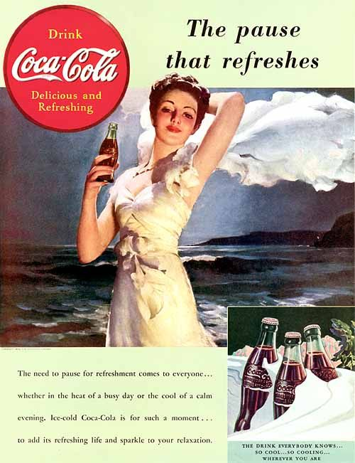 """Coca-Cola - """"The Pause That Refreshes"""" - 1939 - Gil Elvgren"""