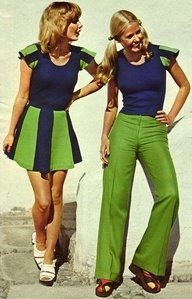 This image represents 1970's women's dress because matching styles and colors of each look.Also the hairstyles.