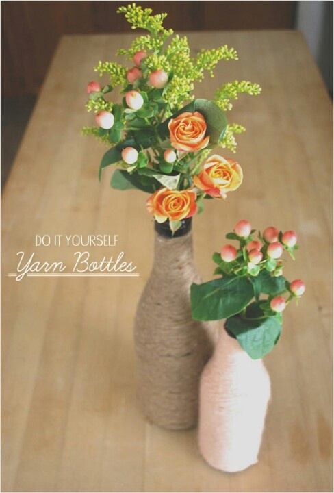 1000 ideas about yarn bottles on pinterest wrapped for How to make flower vases out of wine bottles