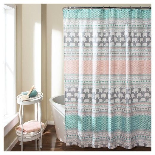 Elephant Stripe Shower Curtain Turquoise