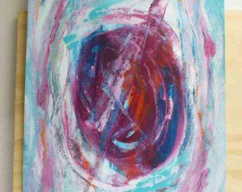 NIEUW: abstract schilderij op schilderskarton - lagen in roze blauw en wit