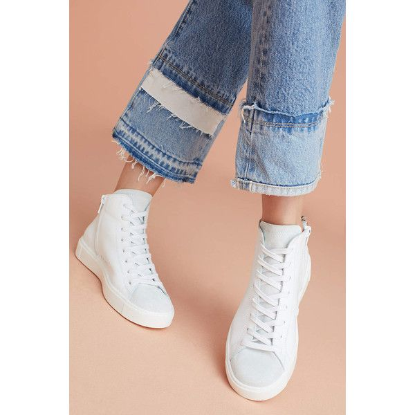 Department of Finery D.O.F. Leopard High-Top Sneakers ($258) ❤ liked on Polyvore featuring shoes, sneakers, white, white hi tops, white shoes, leopard print shoes, suede sneakers and hi tops
