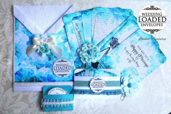 LOADED ENVELOPE Blue   Handmade Wedding Blue  by LoadedTreasures