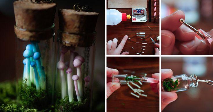 Представляю вашему вниманию мастер-класс по созданию миниатюрной баночки с грибами, где, с помощью простых навыков, любой сможет создать настоящий кусочек леса заключенный в стеклянный сосуд. Нам понадобится: запекаемая пластика FIMO Effect 8020-04 (Светится в темноте люминесцентным зелёным цветом); баночка стеклянная с пробкой 37 х 16 мм; стеки с шариком на конце; мох натуральный…