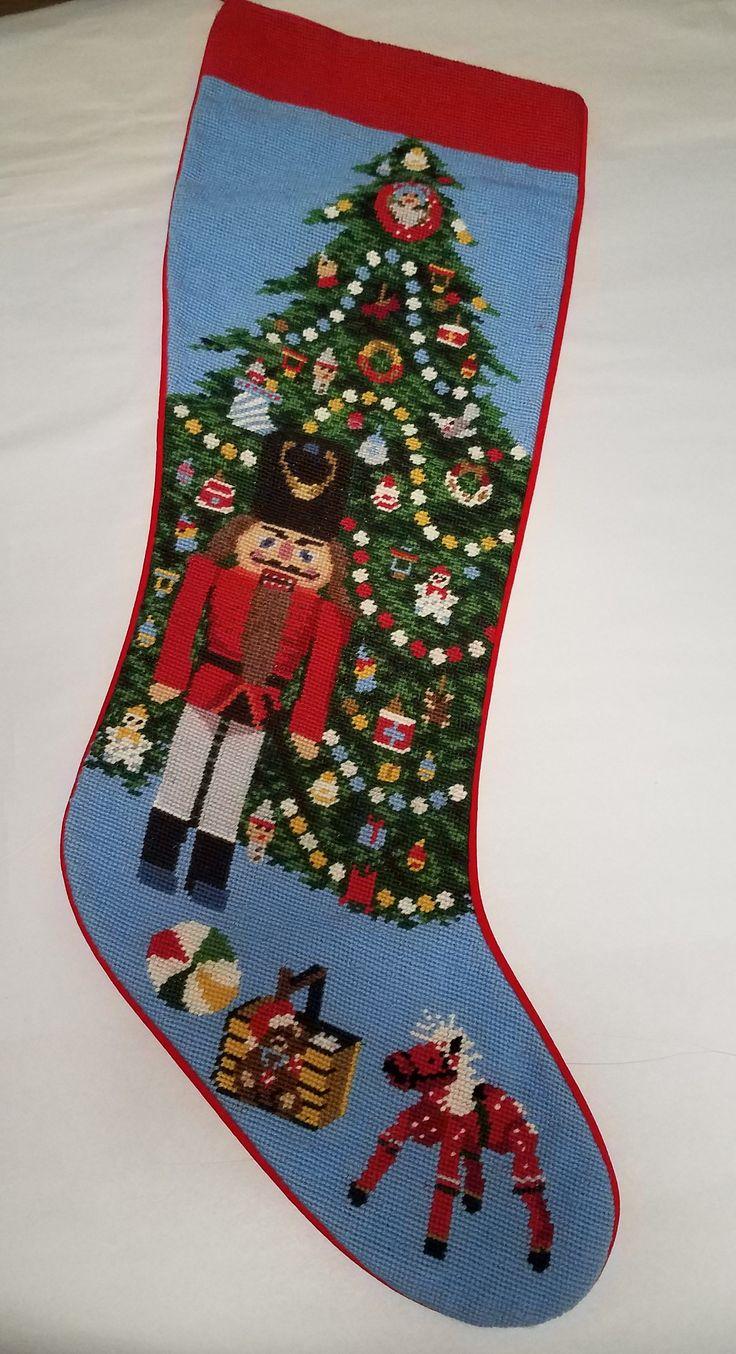 Vintage Wool Needlepoint Christmas Stocking Nutcracker