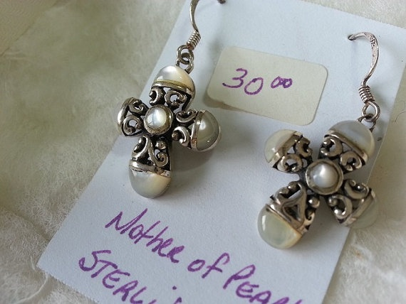 Mother Of Pearl Sterling Silver Cross Earrings by WithLoveDivine, $30.00 cross christian jewellery jewelry intricate beautiful fashion trend white shiny https://www.etsy.com/listing/152653077/mother-of-pearl-sterling-silver-cross