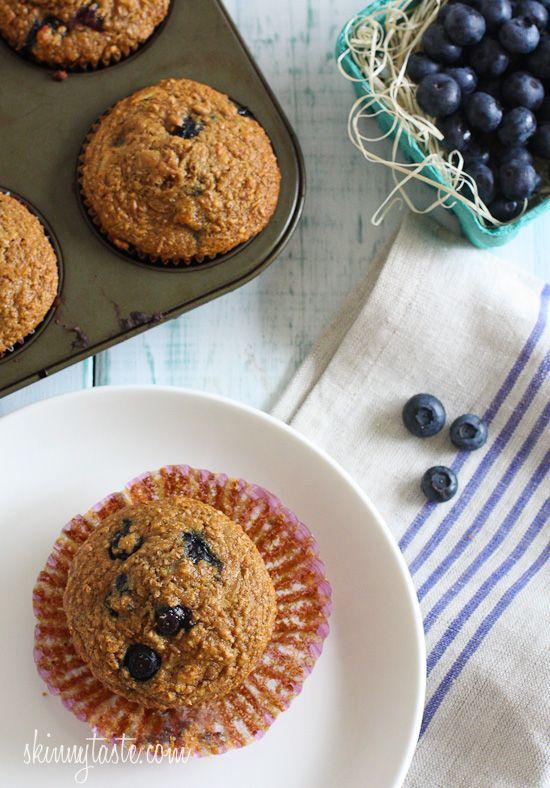 Honey Coconut Blueberry Bran Muffins | Skinnytaste