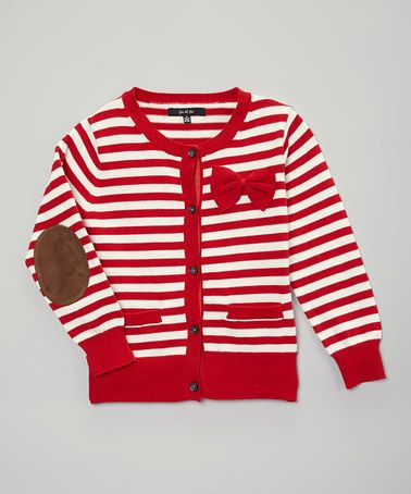 Loving this Red Stripe Elbow Patch Cardigan - Toddler & Girls on #zulily! #zulilyfinds