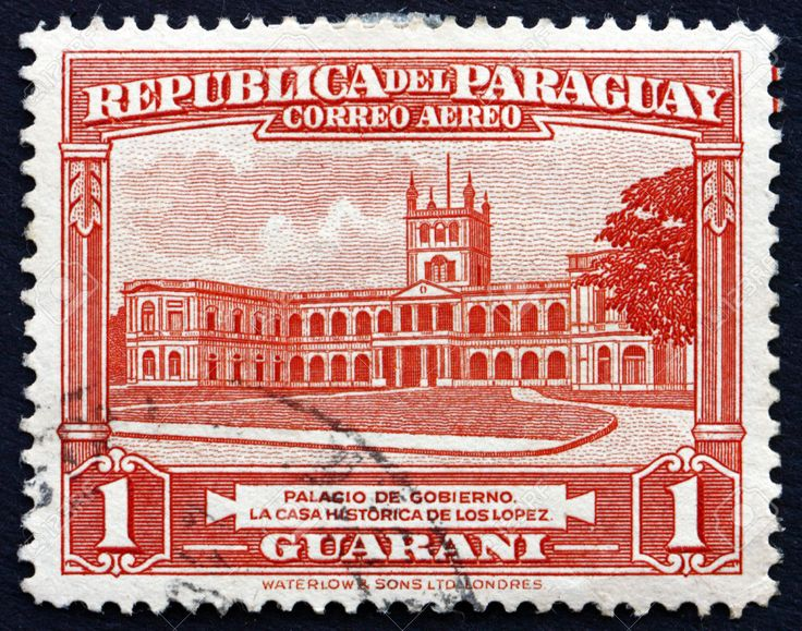 paraguay governement house on postage stamp -