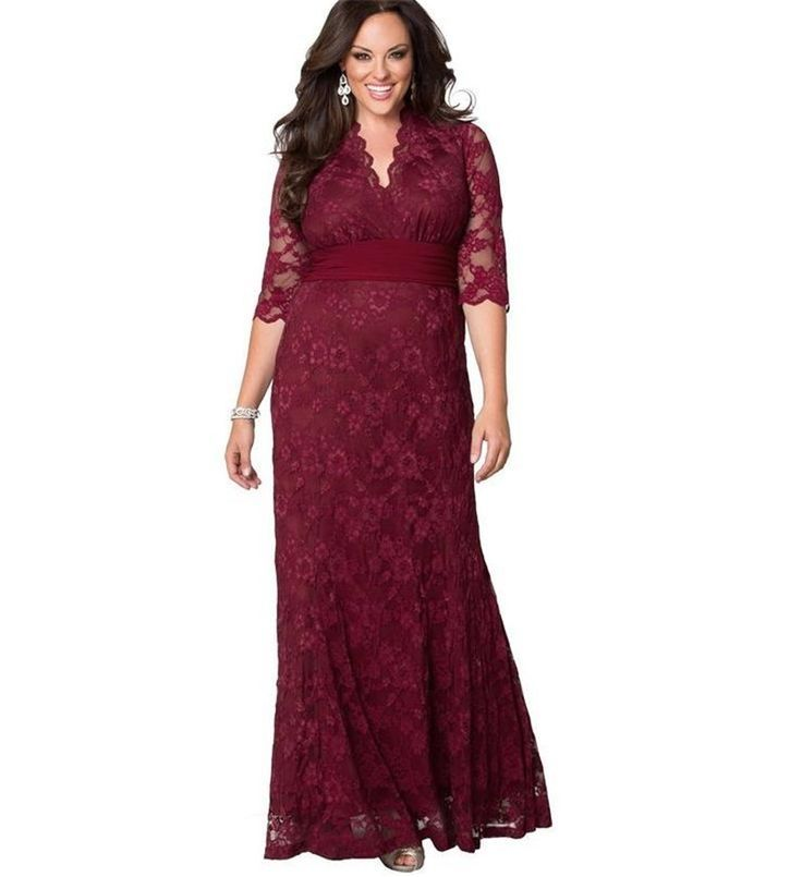 Women Big Large Plus Size Elegant Sexy Evening Maxi Long Little Black Red Party Lace Dresses 5xl 6xl 7xl 8 XL Clothing Gown
