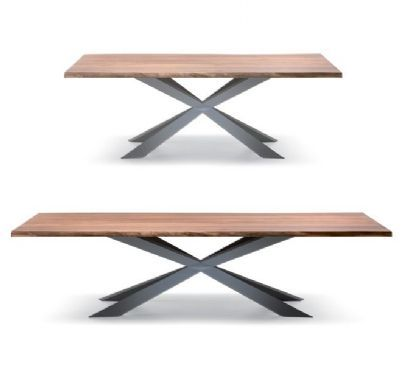 Spyder wood table, black (C5) Size, seats 8 (WxDxH) : 200 x 100 x 75 cm.  Size, seats 12 (WxDxH) : 240 x 120 x 75 cm.  Size, seats 14 (WxDxH) : 300 x 120 x 75 cm. Table with top in walnut canaletto with irregular natural solid wood edges. The frame is available in painted steel.  Frame finish: matt graphite varnished steel. Also available in matt white varnished steel, stainless steel or canaletto walnut.  Top options: walnut canaletto.