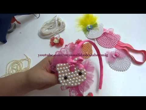 carita de Hello kitty elaborada en fieltro y perlas para decorar accesorios del cabello - YouTube
