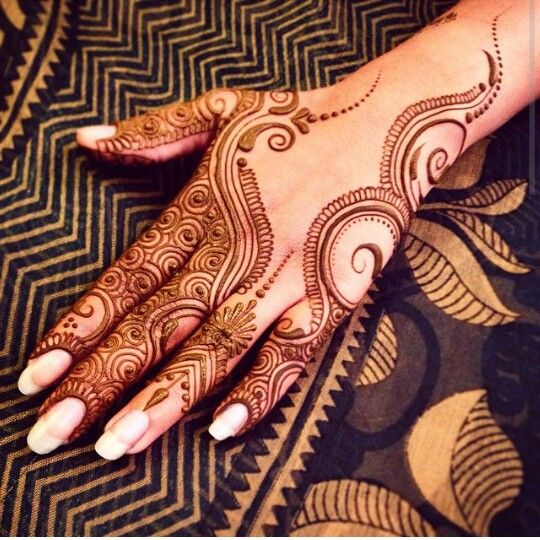 Bridal henna or mehndi design. Bridal manicure.