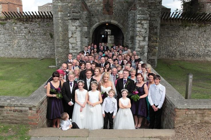 Wedding celebration group shot at Upnor Castle.