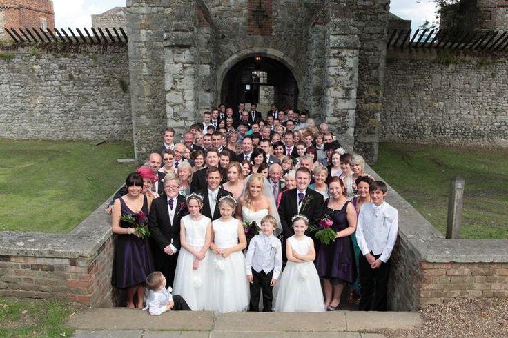 Wedding celebration group shot at Upnor Castle.