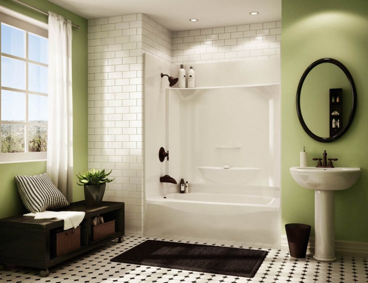 Gorgeous One Piece Shower Units of Small Bathroom Design: Awesome One Piece Shower Units Design With Traditional Decoration In White And Gre...