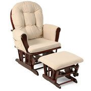 Storkcraft - Bowback Glider Rocker and Ottoman Cherry Finish, Beige Cushions - Wal-Mart