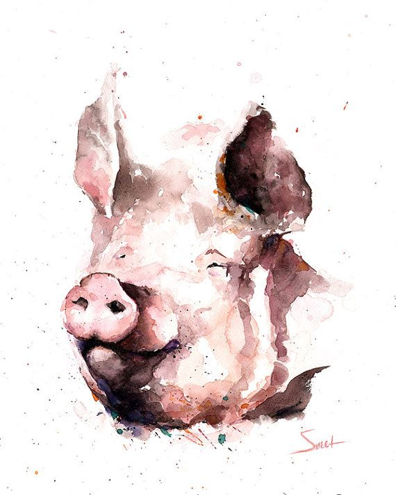 Life is just better with animals around! Light up your room and spirit with this fine art print of my watercolor pig painting. Such funny and smart animals, I cant help but smile when I see them! I hope you enjoy this very personal and meaningful artwork!  ________________________________________________________  SIZE: choose the size that best fits your budget SIGNED by the artist MEDIA: fine art print (the original was painted in watercolor paint) FRAMING not included  ** all prints are…
