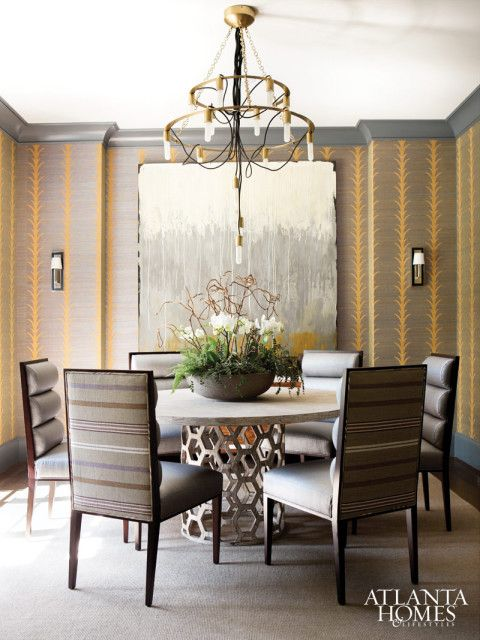 A Schumacher Wallcovering In The Dining Room Lends An Intimate Feeling Thanks To Its Dark Earthy Tones