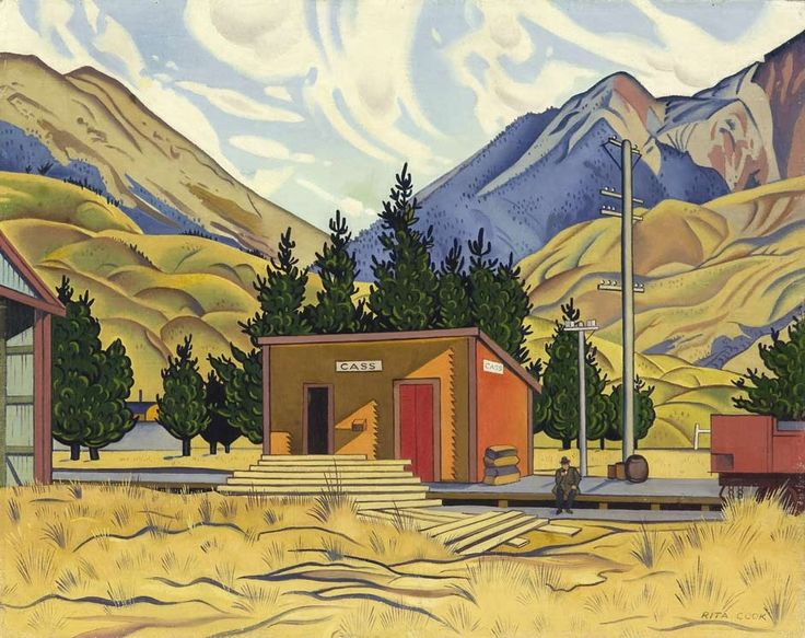 Cass, 1936, by Rita Angus. One of the iconic images of 20th-century New Zealand painting. The work depicts Cass railway station in inland Canterbury, an area that Rita Angus (1908–70) visited in 1936 with fellow artist Louise Henderson (1902–94). While the title is specific, the image is general. This location has been chosen for its typicality and stands for numerous small communities. The seated figure at right in the composition is dwarfed by the surrounding landscape.