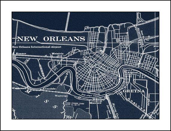 New Oreleans Map Nautical Chart Louisiana map by WaterColorMaps2, $41.25
