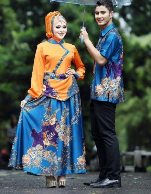 Model baju muslim couple batik