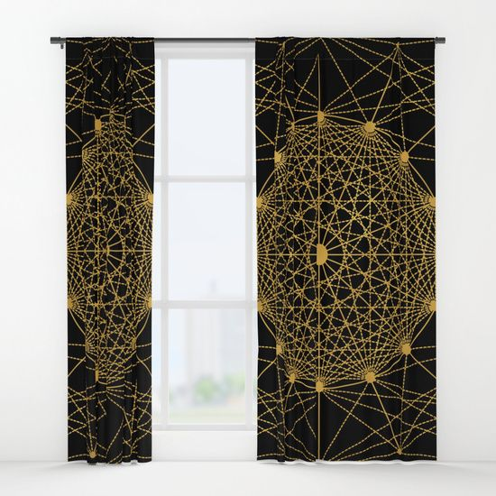 "Geometric Circle Black and Gold Curtains by Fimbis __________________________ #blackandgold #golden #homedecor #interiordesign #interiors #fashion   __________________________  Your drapes don't have to be so drab. Our awesome Window Curtains transform a neglected essential into an awesome statement piece. They're crafted with 100% lightweight polyester, and thick enough to block out some light. Position the curtain rod into the 4"" pocket and you're good to go."