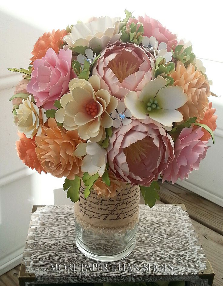 Paper Bouquet - Paper Flower Bouquet - Wedding Bouquet - Shades of Peach and Pink with Country White - Custom Made - Any Color by morepaperthanshoes on Etsy https://www.etsy.com/listing/221839851/paper-bouquet-paper-flower-bouquet