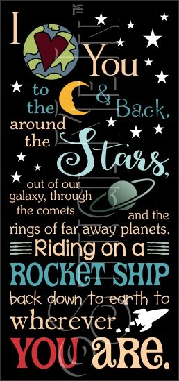To The Moon & Back On A Rocket Ship Typography Stencil